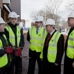 Ed Balls, Mike Kane MP and Nigel Wilson, Chief Exec of WCHG chat to apprentices