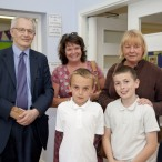 ddy Newman, Chair of WCHG with Louise Leyland, Office Manager to Mike Kane MP, Wyn Goggins and 2 pupils from The Willows.