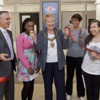 Lord Mayor opens WOW WW1 Exhibition with the help of Andy Jordan, WOW Zone Manager, Leighann Coley aged 13, Sara Hilton, Heritage Lottery Fund and Maria Kimak